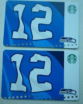 2 - NEW STARBUCKS CARDS SEATTLE SEAHAWKS 12 th FLAG 2019 #6169 FAN MAN NO VALUE