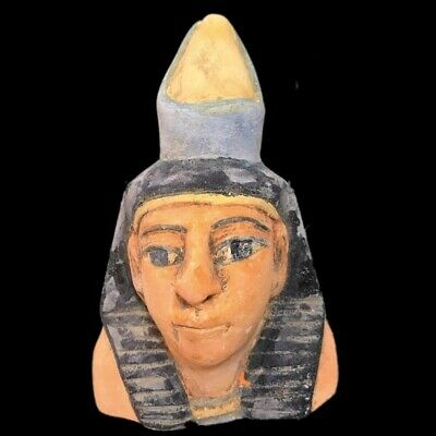 EGYPTIAN PHAROAH BUST STATUE, LATE PERIOD 664 - 332 BC (3) Large Over 16 Cm