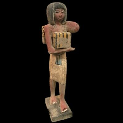 Beautiful Ancient Huge Egyptian Wooden Statuette 300 Bc (1) 37 Tall !!!!!