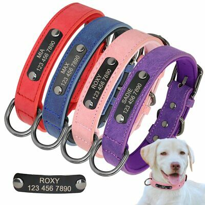 Soft Leather Personalized Dog Collar ID Tag Engraved for Small Medium Large Dog
