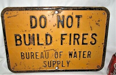 # 2 Antique Usa Industrial Shop Camp Home Tool Build No Fires  Steel Safety Sign