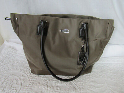 TUMI Brown Nylon Tote Bag with Leather Trim for Travel or the Office
