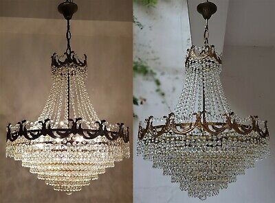 Matching Pair of Antique Vintage Brass & Crystals French GIANT Chandeliers