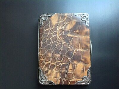 SUPERB LARGE CLEAN ENGLISH ANTIQUE STERLING SILVER & Faux CROCODILE SKIN WALLET
