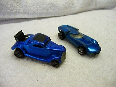 1968 Hotwheels Redlines Blue Classic 36 Ford Coupe & Blue Turbofire Lot 2