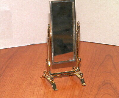Dollhouse Miniatures Used Standing Swivel Mirror in a Gold Frame
