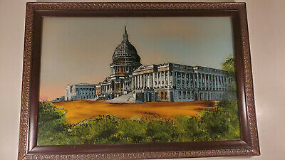 Reverse Painting On Glass United States Capitol Building, framed