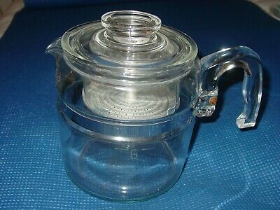 Vintage Pyrex Percolator Glass 4 6 Cup Pot Complete Flameware Stove Coffee Maker