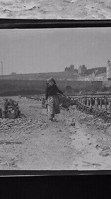 1920s Negative Photo X3 Brittany French Women Shellfish Gathering By H Bairstow