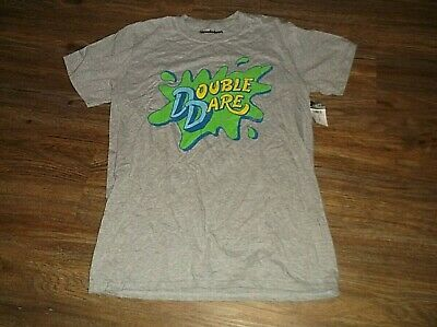 NEW Nickelodeon DOUBLE DARE T Shirt Sz Small S Cotton Blend Short Sleeve Grey