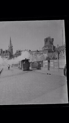 1920s Negative Photo Steam Tram Train France Brittany ??   By H Bairstow