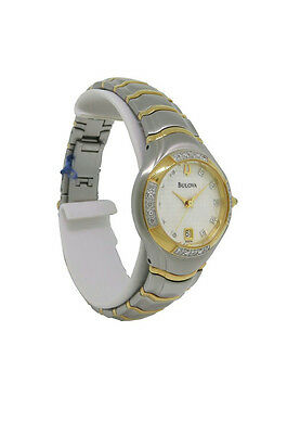 Bulova 98R70 Women's Round Analog Date Diamond Two Tone Stainless Steel Watch