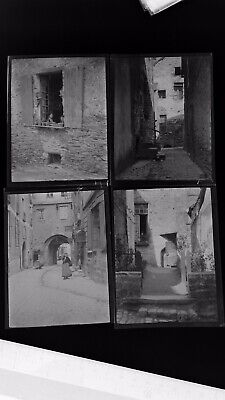 1920s Negative Photo X4 Old Vitre Brittany Streets Ladies France H Bairstow