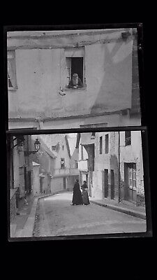 1920s Negative Photo X2 Old Vitre Brittany Old Man & Women France H Bairstow
