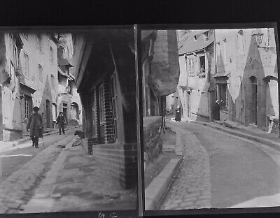 1920s Negative Photo X2 Old Vitre Brittany Cobbled Streets France H Bairstow