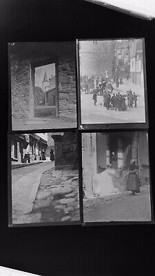 1920s Negative Photo X4 Old Vitre Brittany Busy People & Market  H Bairstow
