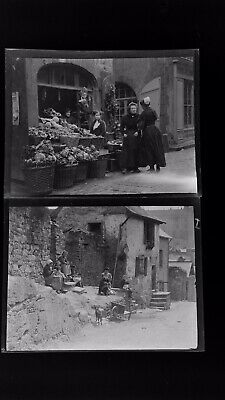 1920s Negative Photo X2 Old Vitre Brittany Market & Ladies Knitting H Bairstow