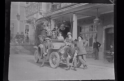 1920s Negative Photo X2 Old Vitre Brittany Group & Vintage Car H Bairstow
