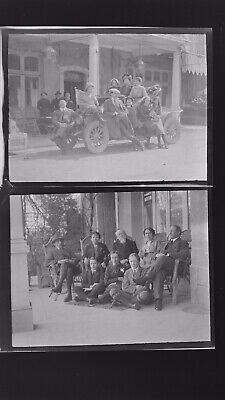 1920s Negative Photo X2 Old Vitre Brittany Seated  Tourist & Group Vintage Car