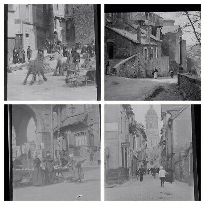 1920s Negative Photo X4 Old Vitre Brittany Jacob St And Busy Town Scenes
