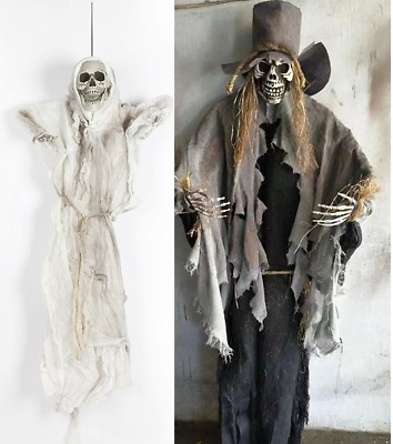 Halloween 2PC BUNDLE Decoration Prop Hanging Skeleton Ghost Scary Haunted House