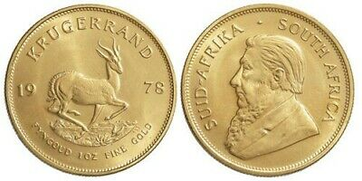 Krugerrand 1978 South Africa placcato oro 24 kt