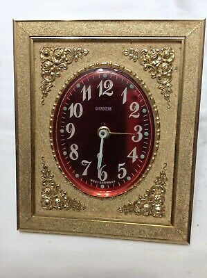 Vintage Overocean West Germany Wind-Up Alarm Clock Red and Gold