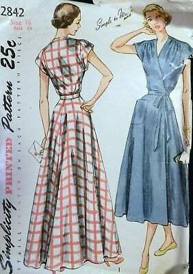 Vtg 1940s Simplicity 2842 Tie Wrap House Dress Housecoat Robe Sewing PATTERN 16