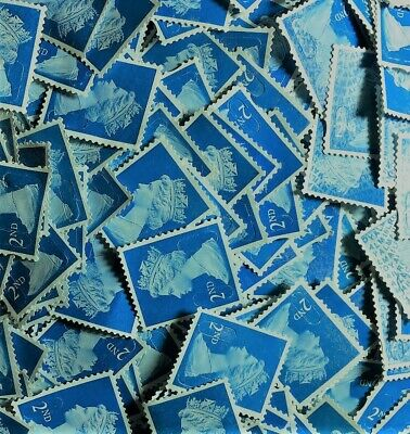 100 x 2nd Class Royal Mail Stamps; Unfranked, No Gum, Off Paper Face val. £61