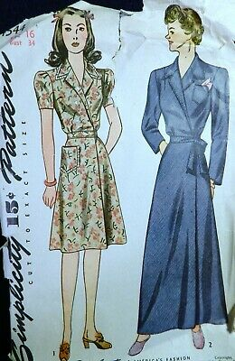 Vtg 1940s Simplicity 4544 Surplice House Dress Housecoat Robe Sewing PATTERN 16