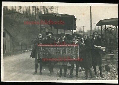 Antique WHISTLE SODA POP SIGN vtg photo 1920s? girls & delivery truck driver? WA