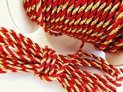 12 yard Metallic Nylon Twine Cord 2mm/Trim/Craft/Christmas/Holiday T116-Gold-Red