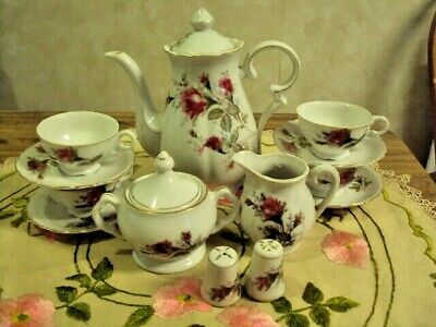 Moss Rose Tea Set Demitasse 15 Pcs. Teapot,Cream,Sugar,4 Cups/Saucers,Shakers Ex