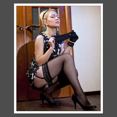 Blonde upksirt black nylons garters heels Sexy 8x10 Glossy Photo S21 D10581