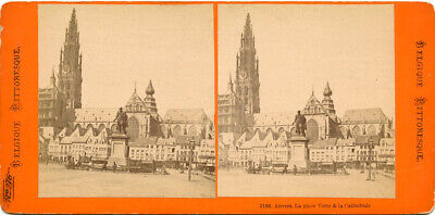 """The Place Verte """"Green Place"""" Our Lady Cathedral Antwerp Belgium Stereoview"""