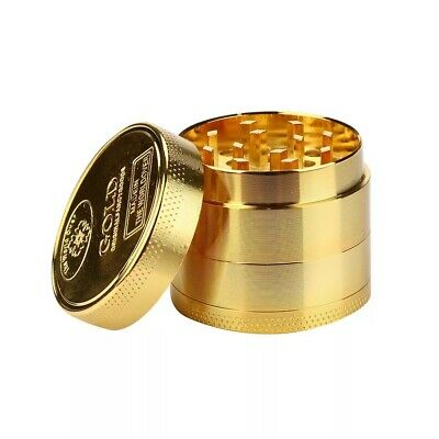 Tobacco Grinder 4piece  Alloy Smoke Metal Crusher Gold