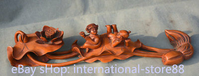 """16.4"""" Old Chinese Dynasty Huanghuali Wood Carved Tongzi Boy Girl Ruyi Statue"""