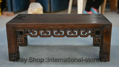 """15.2"""" Old Chinese Huanghuali Wood Carving Palace Kang Table Small Desk"""