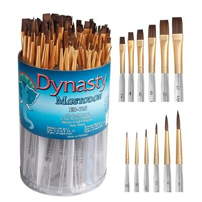 Dynasty Mastodon Short Handle Round and Shader Brush Assortment  - 96-Count