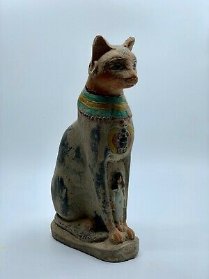 EGYPTIAN ANTIQUES GODDESS BASTET CAT Bast Re Statue EGYPT CARVED STONE 1500 BC