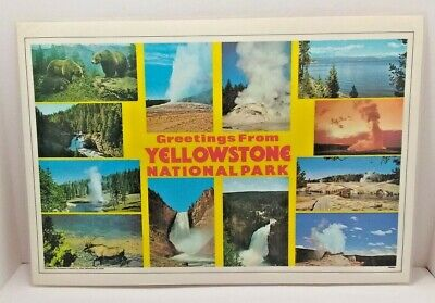 """Vintage 1980s Yellowstone Placemat """"Greetings from Yellowstone National Park"""""""