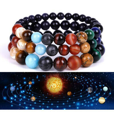 Beads Bracelet Bangle of Galaxy Solar System Eight Planets Theme Natural Stone