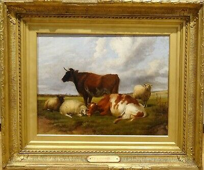 19th Century English Cattle Cows Sheep Resting Landscape Thomas Sidney Cooper
