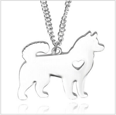 New Women fashion Animals Alaskan Sled Dog Heart Pendant Necklace