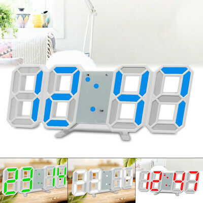 1* Large Digital LED Wall Desk Snooze Alarm Clock Modern 3D 12/24 Hour Display
