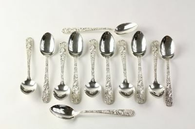 S. Kirk & Son Repousse Set of 12 Teaspoons - Sterling Silver Collectible Spoons