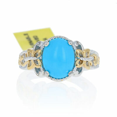 NEW Oval Cabochon Cut Turquoise Ring - Sterling Silver Gold Plated Solitaire