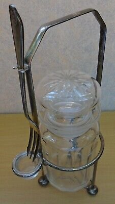 Vintage pickle jar in stand. Faceted glass jar. Silver plated EPNS Pickle fork.
