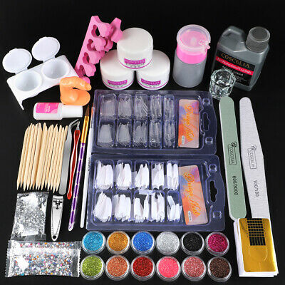Acrylic Nail Art Tools Kit Set Powders Nail Sticker DIY Set Pump Nail Brush UK
