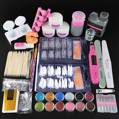 Acrylic Powders Nail Art Set Acrylic Liquid 120ML Tips Brush Glue Dust Kits- UK